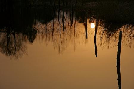 陽が沈む朝