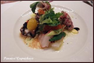 テリーヌ・カルパッチョ等と飾りサラダの1品