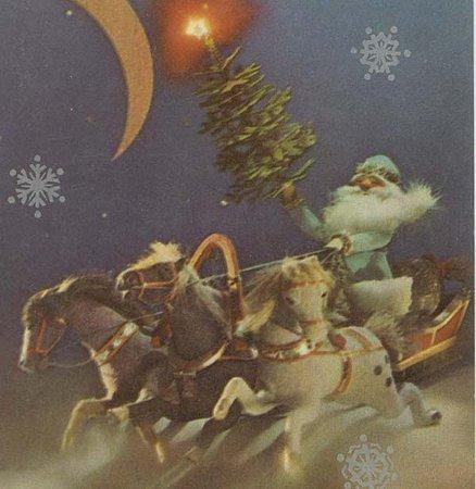 月夜に橇を走らせるサンタクロース