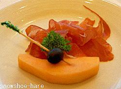 船のディナー・前菜(生ハムとメロン)
