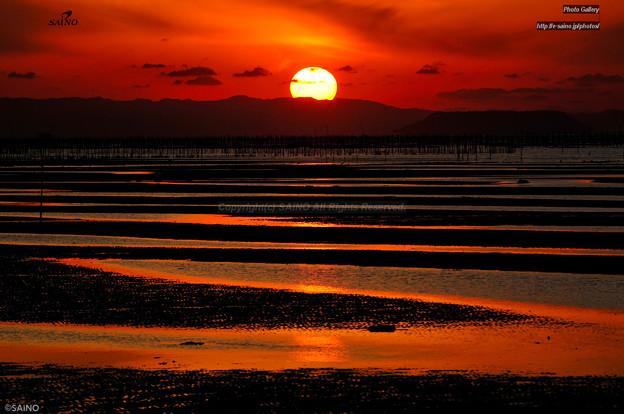 御輿来海岸の夕景