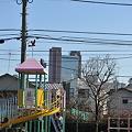 写真: 遊具とキャロットタワー