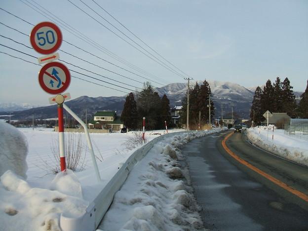 福島県道64号の冬 - 生井 - 下り坂 - 1