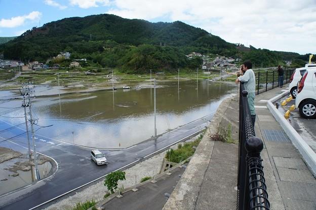 台風で浸水した女川町中心部(震災による地盤沈下)_120620_06