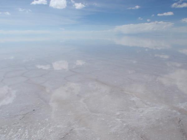 写真: 雨期のウユニ塩湖