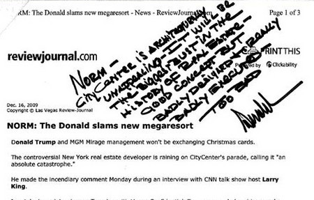 Trump - A note to Norm from Donald Trump 12-19-09 by Norm Clarke