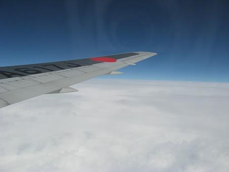 上海へ向けて飛行中